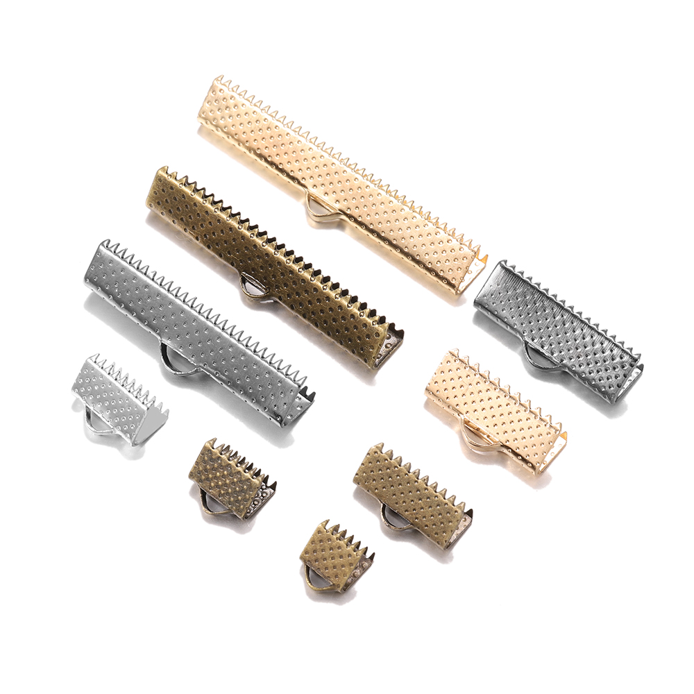 silver plated silver-plated brass,crimp cord end,cord end,leather jewelry clasp,cord jewelry clasp 10 ribbon crimp end smooth 9 x 5 mm