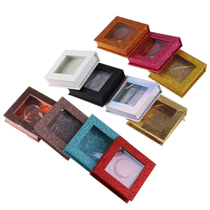 1 Pc Glitter Falso 3d Ciglia di Visone Scatole Faux Cils Caso Vuoto Ragazze Regalo Quadrato Striscia Sferza Ciglia Finte Imballaggio box