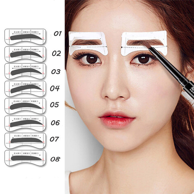 Hot 32 Pairs/Set Professinal Fashion Eyebrow Template Stickers Eye Brow Eyebrow Stencils Drawing Card Stencil Makeup Tools