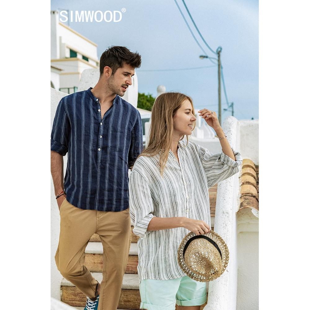 SIMWOOD 2020 Summer New Vertical Striped 100% Linen Shirts Men Three Quarter Sleeve Shirt Stand Collar Plus Size SJ170268