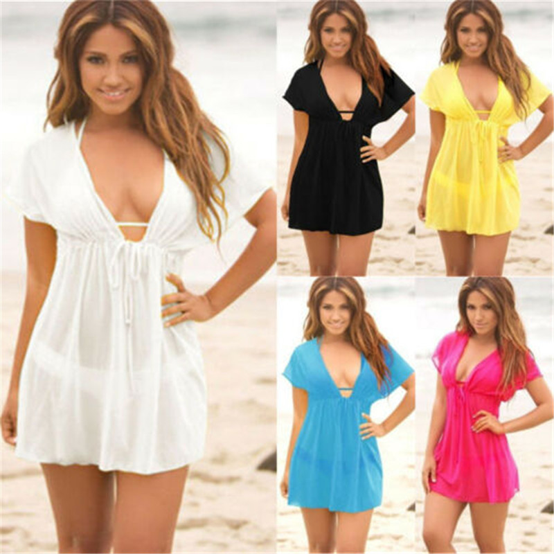 2019 Beach Dresses For Women Beach Cover Up Solid Sarong Holiday Casual Short Sleeve V Neck Beachwear Swimwear Female Mini Dress