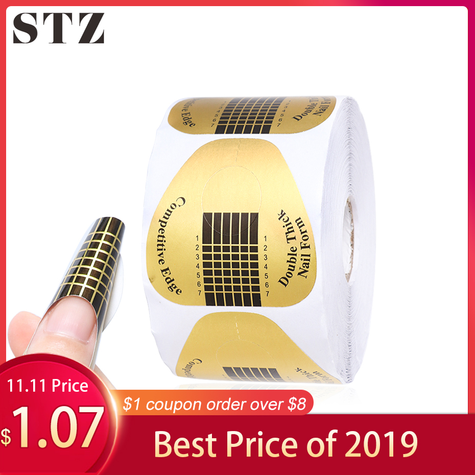 STZ 50pcs/Set Professional Nail Art Form French Tips Mold UV Gel Polishing Extension Guide Sticker Tool Manicure Accessory NJ071