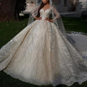 Image 1 - Glitter Ivory Bride Dresses Ball Gown Sheer Long Sleeves Appliques V Neck Bridal Style Custom Made Special Occassion Long Gowns
