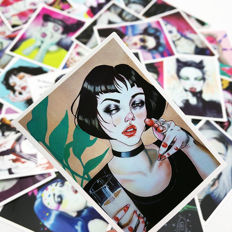 25PCS Retro Style Sticker Sexy Pin Up Girls Stickers Waterproof PVC Skateboard Luggage Laptop Skateboard Car Decals Toy Stickers