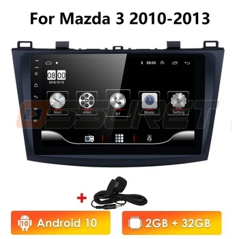 For Mazda 3 2010-2013 maxx axela android 10 Car DVD GPS Radio Stereo 1G 16G WIFI Free MAP Quad Core 2 din Car Multimedia Player hactivol 9 car radio for suzuki sx4 2006 2012 fiat sedici 2006 2010 android 7 0 1 car dvd player with bluetooth 1g ram 16g rom