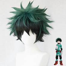 Anime Boku no Hero Academia Izuku Midoriya Wig Cosplay Costume My Hero Academia Halloween men Synthetic Hair Wigs +wig cap