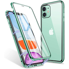 Coque Double face en métal et verre magnétique à 360 ° pour Iphone, compatible modèles 6, 7, 8, 11 Pro, Xs Max, Xr, X, Se 2020