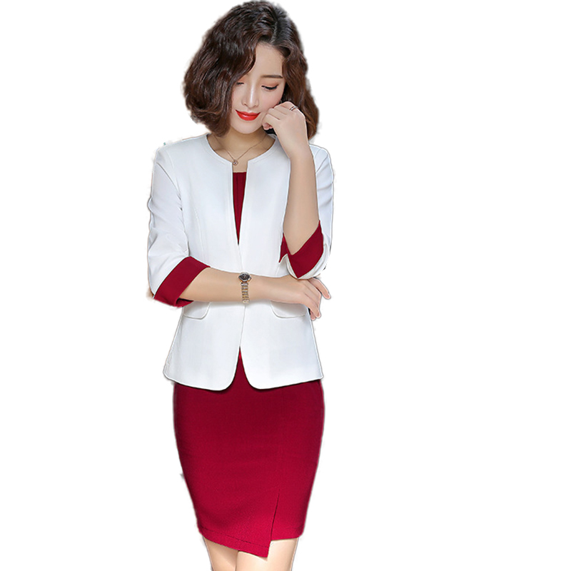 Wine Red Formal Dress Blazer Women Dresses with Jacket Women Dress Suit Set Office Wear Work for Ladies Evening Elegant Costumes