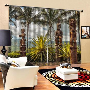 seaside curtains Window Blackout Luxury 3D Curtains set For Bed room Living room Office Hotel Home Wall Decorative trees curtain