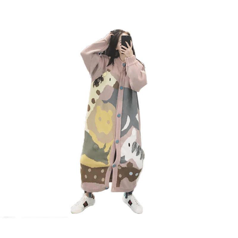 Ins Superของเสื้อกันหนาวหญิงHanรุ่นหลวมLanguidคือLazyฤดูหนาวลมเก๋Tasteยาวเสื้อกันหนาว