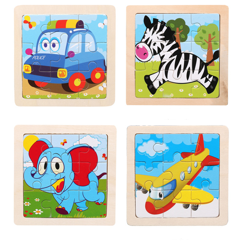 baby girrafe, car, baby elephant, airplane wooden 3d jigsaw puzzle