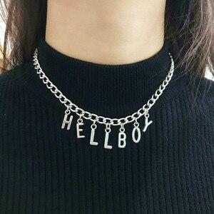 Ожерелье-чокер с надписью Hellboy, ожерелье с цепочкой в виде ангела, серебряного цвета, подарок для пары, Подвеска для женщин, ювелирные издели...
