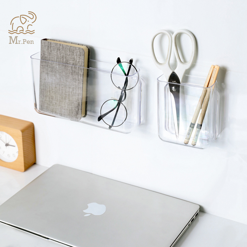Clear Pen Holder Wall Mounted Storage Box Desk Pen Pencil Organizer Home Office Sundries Storage Stationery Holders Pencil Cup