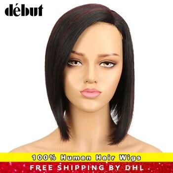 Debut Remy Brazilian Lace Human Hair Wigs blunt Cut Silky Straight BOBO Human Hair Wigs TT1B/27Ombre Color Wigs For Black Women