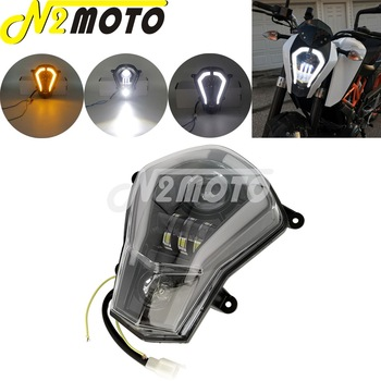 Motorcycle LED Headlight Assembly Replacement Kit DRL Running Light Turn Signal For KTM 125/200/250/390 DUKE 390 2011-2019 image
