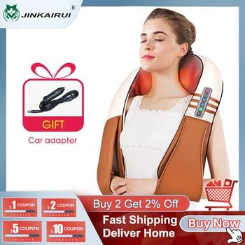 (with Gift Box) JinKaiRui U Shape Electrical Shiatsu Back Neck Shoulder Body Massager Infrared Heated Kneading Car/Home Massager 1