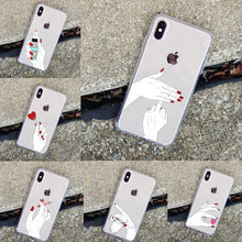 Cool Girls Red Nail Polished Finger Personality European Style ClearTPU Phone Case Cover For iPhone 55s SE 678Plus11Pro MAX X XR inonler зеленый iphone 55s