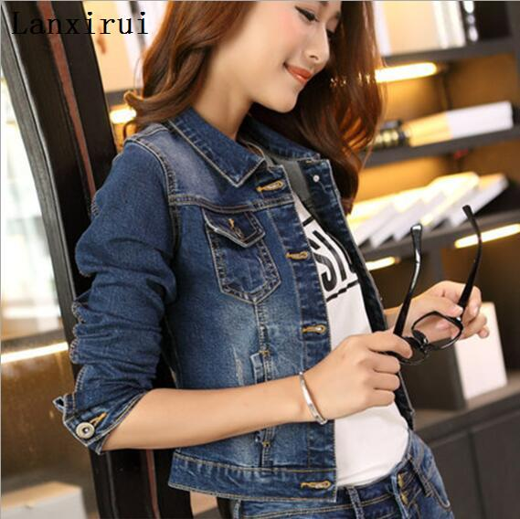 2018 new Women Denim Jacket Casual Self -Cultivation Long -Sleeved S Fashion Large Size