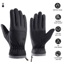 Winter Gloves Warm Full Finger Touchscreen Windproof Gloves with Elastic Wrist Drawstring for Outdoor Activities Hiking Camping