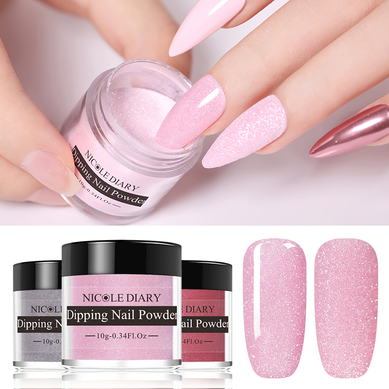 NICOLE DIARY Sparkling Dip Dipping Nail Powder Glitter Natural Dry French Chrome Dust Manicure Art Decoration DIY Pigment