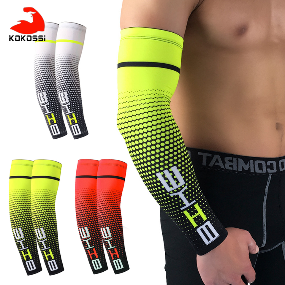 KoKossi 2PCS Sports Arm Compression Sleeve Basketball Cycling Arm Warmer Summer Running UV Protection Volleyball Sunscreen Bands
