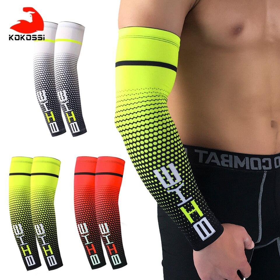 Kokossi 2 pçs braço de esportes manga compressão basquete ciclismo braço mais quente verão correndo proteção uv voleibol protetor solar bandas