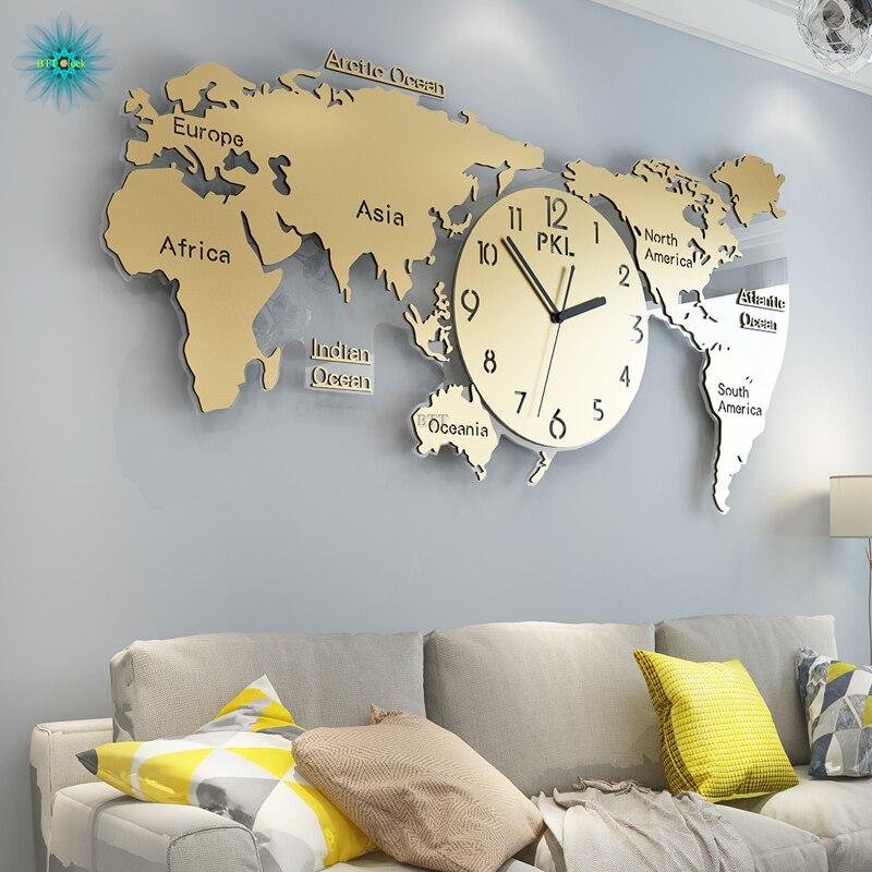 Wereldkaart Grote Wandklok Modern Design 3D Stickers Opknoping Klokken Muur Horloge Unieke Digitale Wandklokken Home Decor Silent