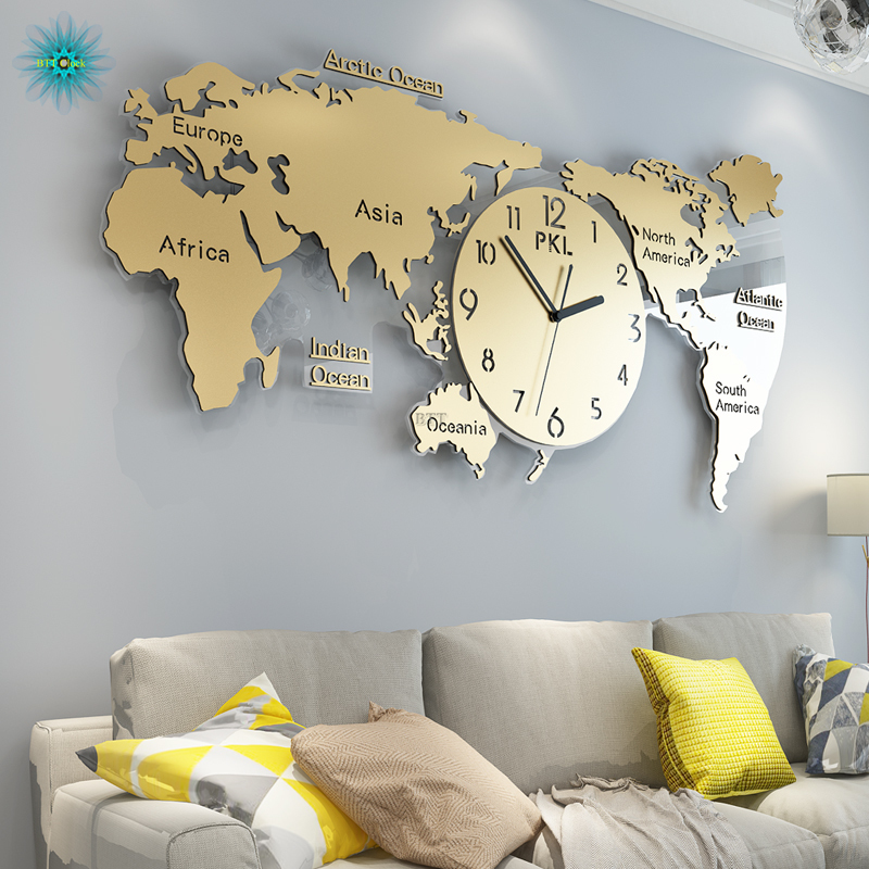 World Map Large Wall Clock Modern Design 3D Stickers Hanging Clocks Wall Watch Unique Digital Wall Clocks Home Decor Silent