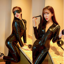 Sexy Vrouwen Pu Lederen Jumpsuit Turnpakje Rompertjes Wet Look Rits Catsuit Bodysuit Dames Club Kleding(China)