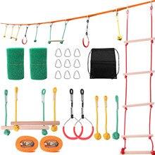 Ninja Line Children climbing equipment Ninja Rope Obstacle Training Equipment Kids Fun Slack Line Outdoor Children's carabiner