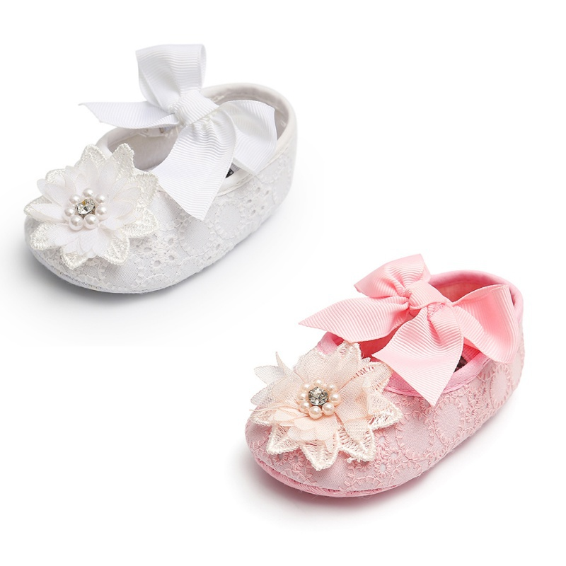 Cute Baby Girl Infants Lace Flower Princess Shoes Floral Headwear Headband Photography Props Set First Walkers