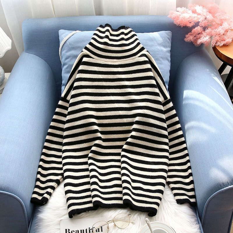 turtlenck knitted striped women sweater slim loose casual all match home wear female pulls outwear coat tops
