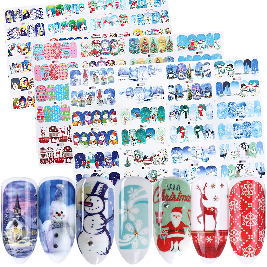 12 pc Stickers On Nails Snowman Elk Christmas Adhesive Foil Decals Water Sliders For Winter Nail Art Decor Manicure set LABN/A 1-in Stickers & Decals from Beauty & Health
