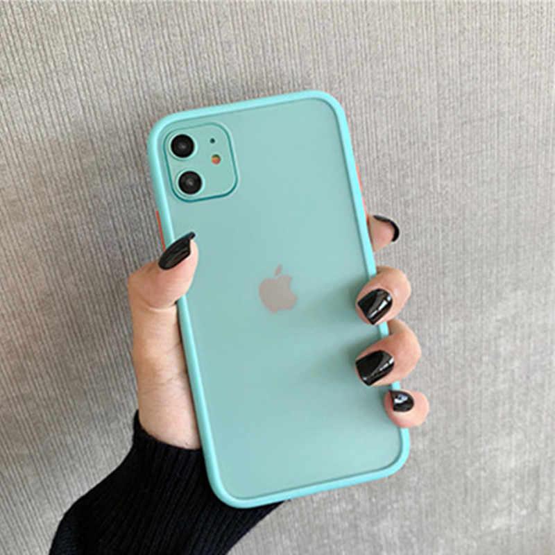 Mięta hybrydowa prosta matowa etui na telefon z twardymi bokami dla iPhone 11 Pro Max XR XS Max 6S 8 7 Plus odporna na wstrząsy miękka TPU silikonowa przezroczysta okładka
