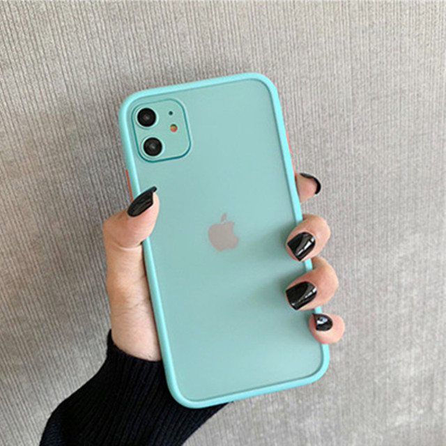 Simple Mint Hybrid Matte Bumper Phone Case For iPhone 11 11 Pro Max XR XS Max 6S 8 7 Plus Shockproof Soft TPU Silicone Cover