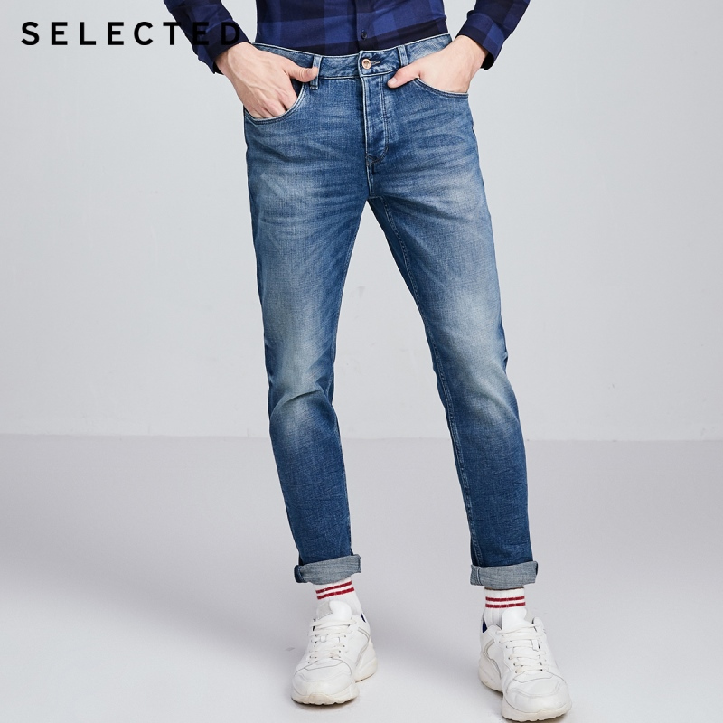 SELECTED Men Casual Denim Pants Handsome Retro Washed Tapered Jeans S|419432517