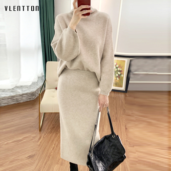 Autumn Winter Wool Knitted Two Piece Set Women Cashmere Turtleneck Pullover Sweater+Elastic Skirt Loose Tracksuits Suits Female