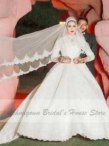 Wedding-Dresses Long-Sleeve Beaded Lace Islamic Long-Train Bridal Muslim Vintage New