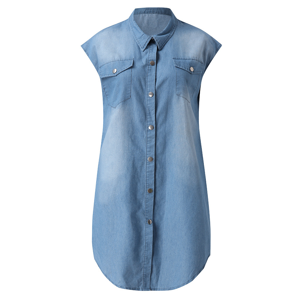 Jeans Women Summer Dress Short Sleeve High Quality Solid Denim Sundress Turn Down Collar Mini Party