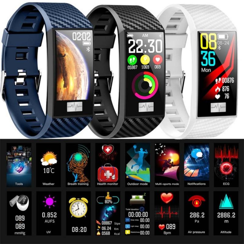 Pulseira para Apple Esportes Relógio Inteligente Homens Pressão Arterial Banda Freqüência Cardíaca Bluetooth Iphone Galaxy Oppo Realme Telefones Android 2020