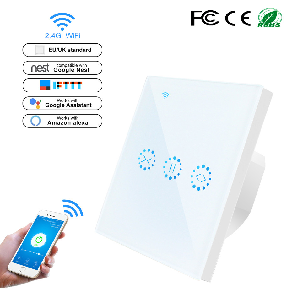 WiFi Roller Shutter Switch WiFi Curtain Blinds Touch Switch Control Garage Door By Alexa Google Home Timer Neutral Wire Needed