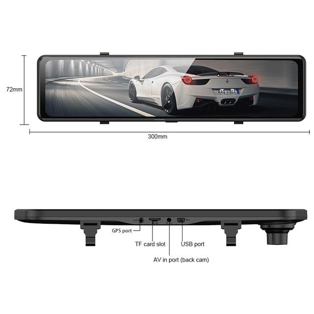 "Car DVR 2160P 12"" 4K Sony IMX415 Rear View Mirror Camera GPS FHD 1080P Rear Camera Dash Cam Video Recorder Registrar with Mount 6"