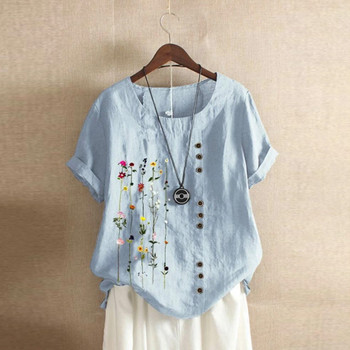 women's blouse Flowers Plus Size Women Bohemian Floral Embroidered Shirt Short Sleeves Top Blouse vintage clothes for wom 1