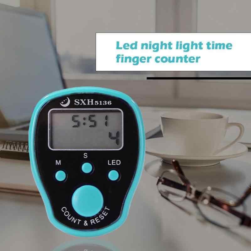 Marcador de puntada de plástico fila anillo de dedo contador de Cuentas electrónico LED