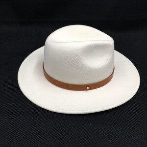 Image 3 - לבן צמר הרגיש כובעי נשים אלגנטי חגורת גזוז רחב ברים פדורה ליידי כנסיית חתונה כובע יהלומי כתר צמר הרגיש לבן מגבעות לבד