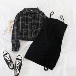 2019 neue Ins weibliche zwei-stück anzug frühen herbst plaid kurzen hemd jacke + solide hosenträger rock kleid