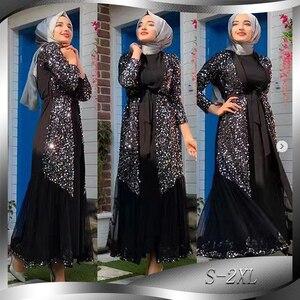 Image 1 - Рамадан Эйд Мубарак абайя кимоно женский кардиган хиджаб мусульманское платье Турецкий ислам одежда искусственная кафтан халат Дубай