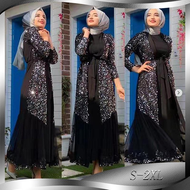 Sequin Abaya Kimono Mujer Cardigan Hijab Muslim Dress Turkish Islam Clothing Abayas For Women Caftan Ramadan Kaftan Robe Dubai