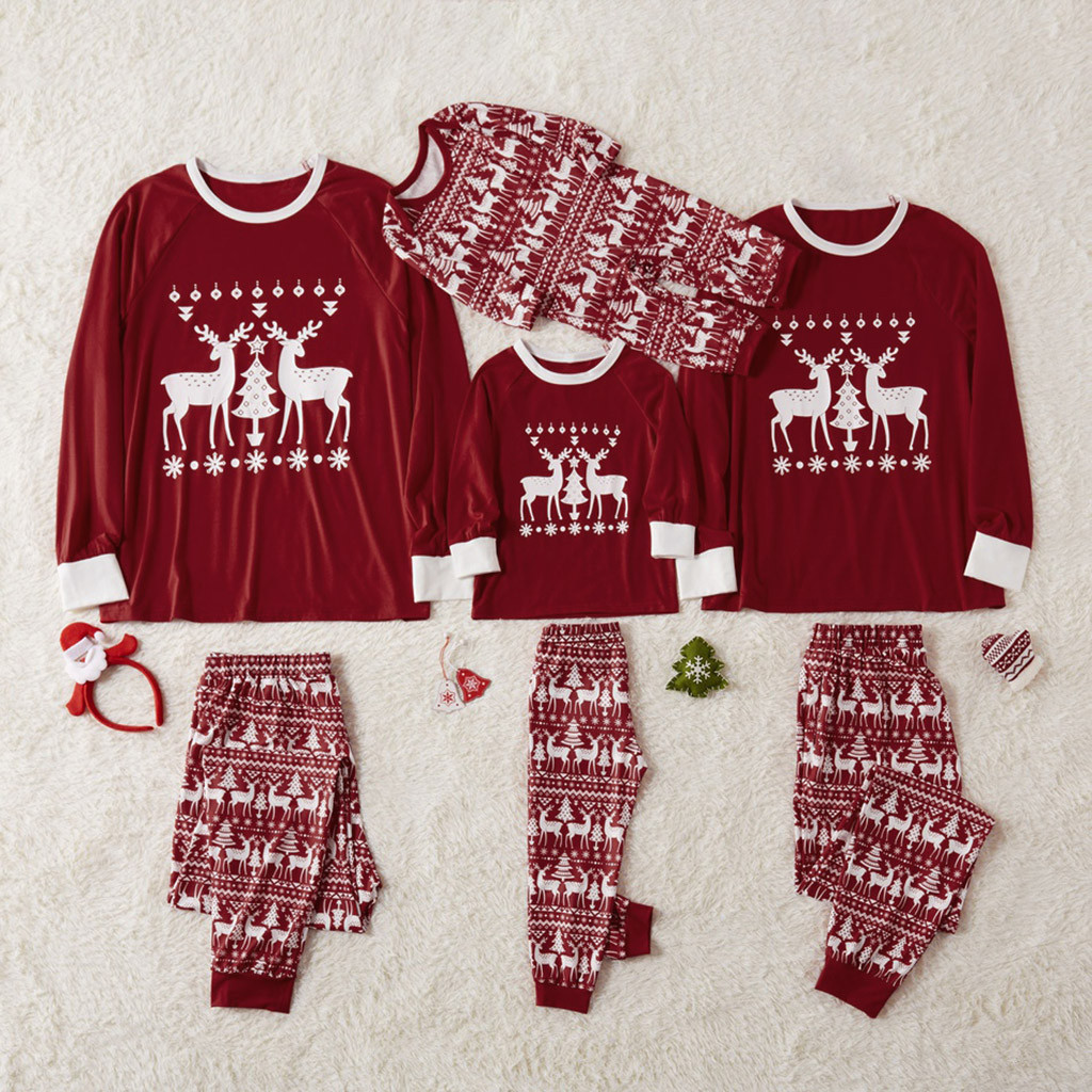 New Christmas style Hot Sale New 2019 autumn winter clothing Toddler Kids Christmas Deer Tops Pants Family Pajamas Sleepwear
