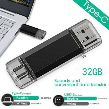 16GB 32GB Type-C USB 3.0 OTG Flash Drive Memory Stick 64GB Phone U Disk For PC Android Samsung Huawei Xiaomi Flash Stick Black